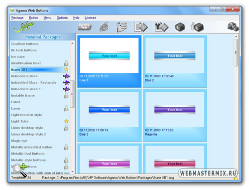 Интерфейс программы Agama Web Buttons