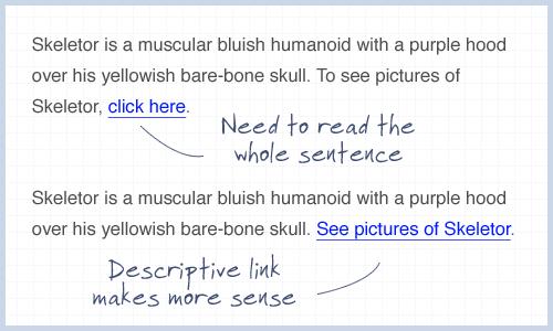 Использование в тексте сообщения «кликните здесь»