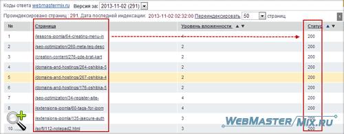 Результат проверки кодов ответа сервера